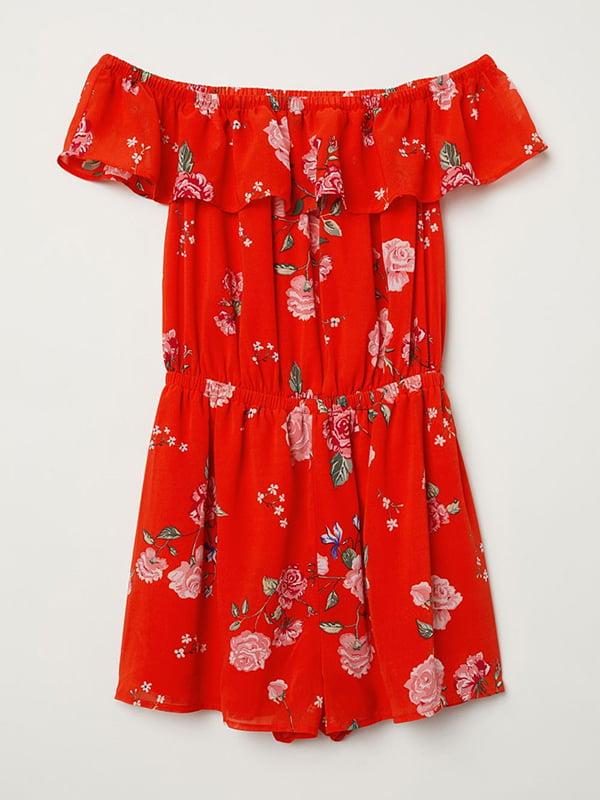 Комбинезон красный с цветочным принтом   5093714