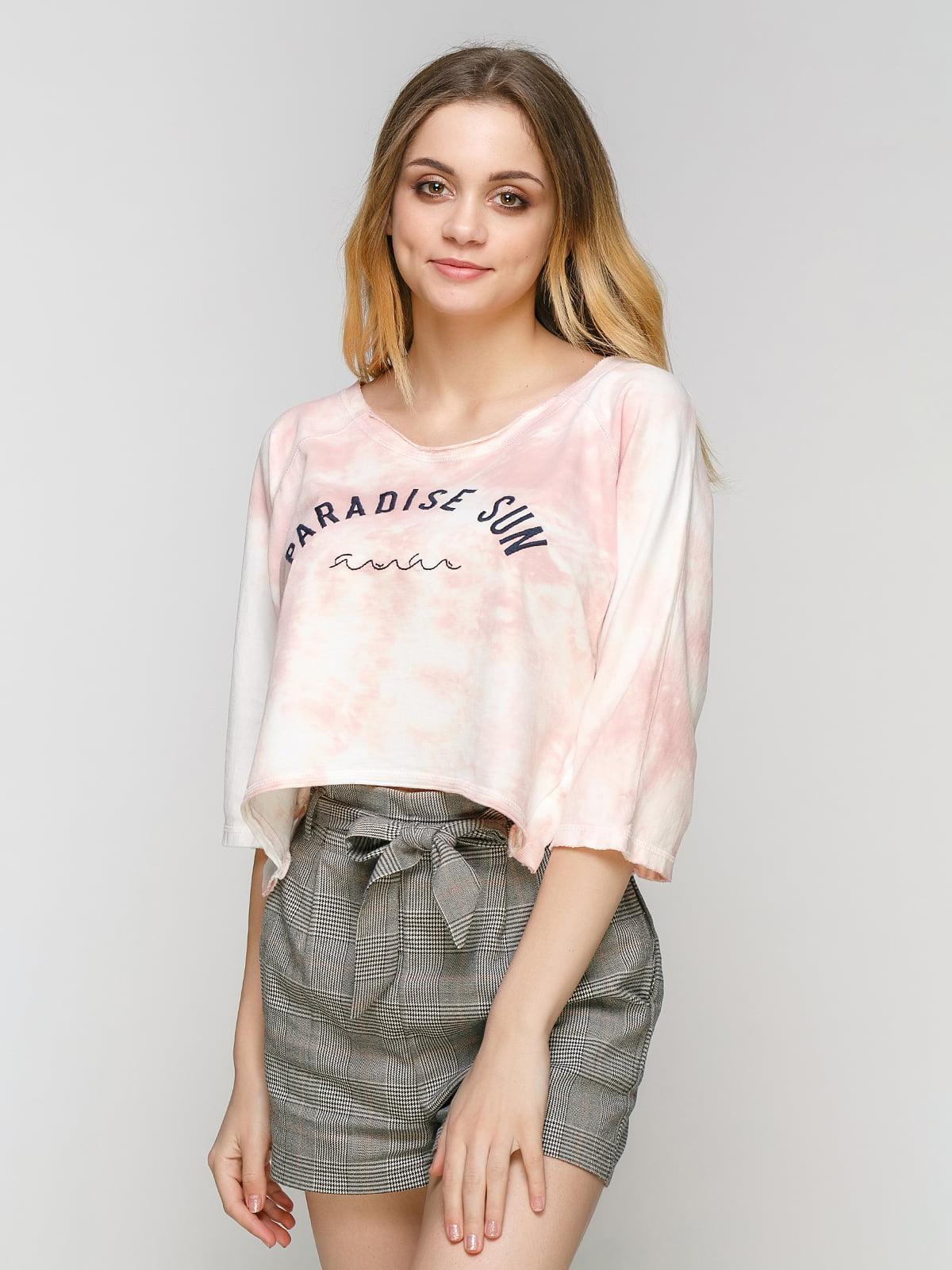Реглан біло-рожевий з принтом | 4562147