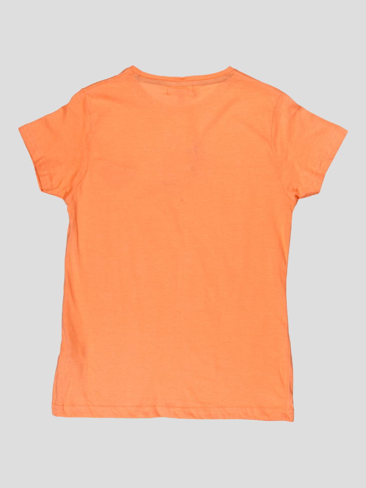 Футболка помаранчева з принтом | 5082227 | фото 2