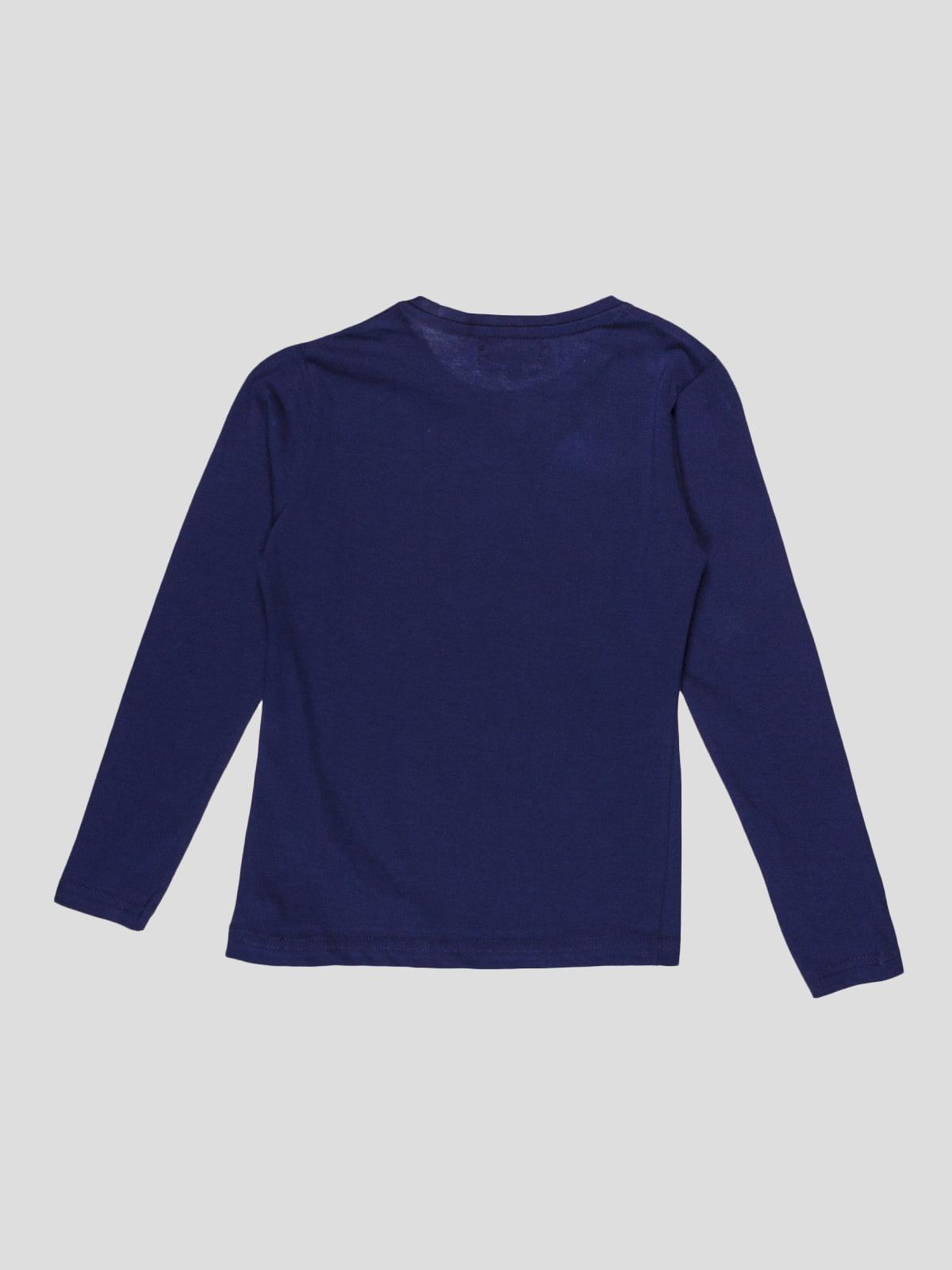 Лонгслів темно-синій з принтом | 5082219 | фото 2