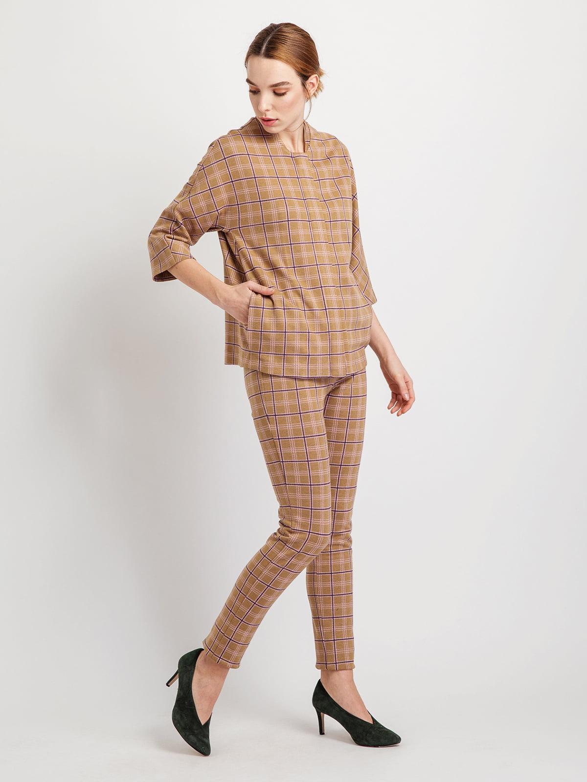 Жакет коричневий в клітку | 5096377