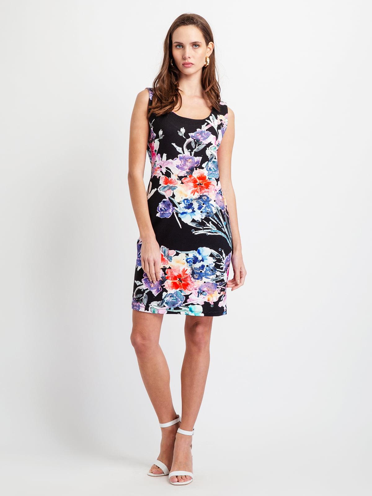 Сукня чорна у квітковий принт | 5096487