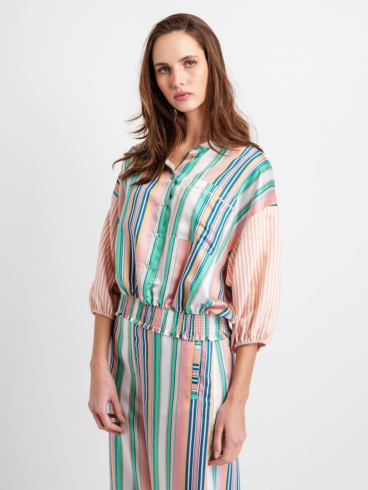 Блуза різнобарвна смугаста | 5096406