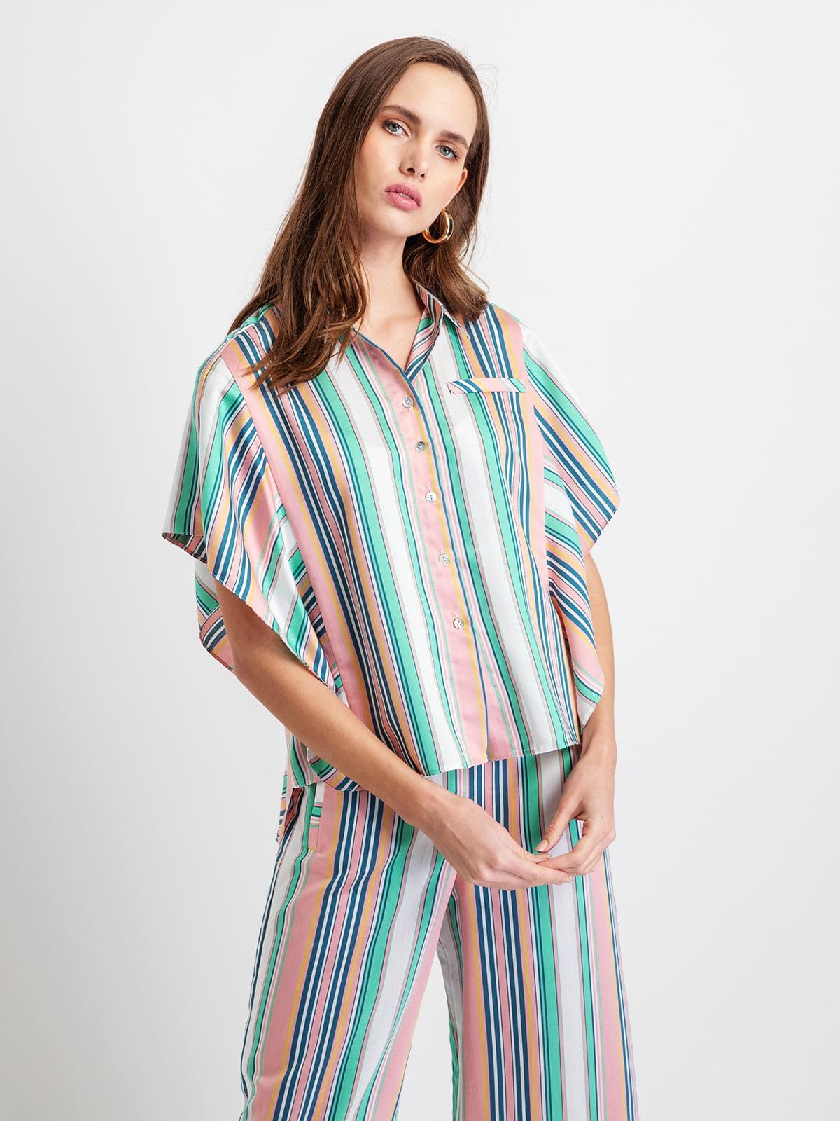 Сорочка синя в смужку | 5096527