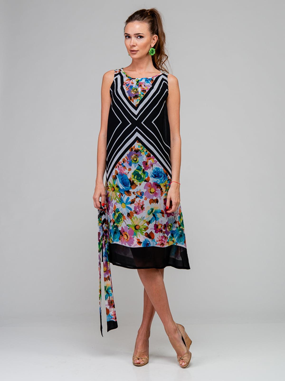 Платье черное с цветочным принтом | 5093508