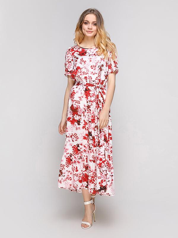 Платье белое в цветочный принт | 5101011