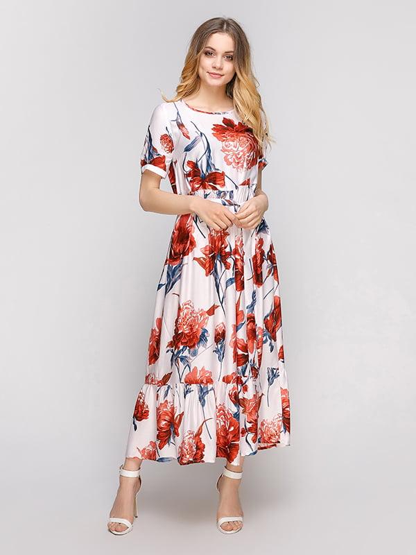 Платье белое в цветочный принт | 5101012