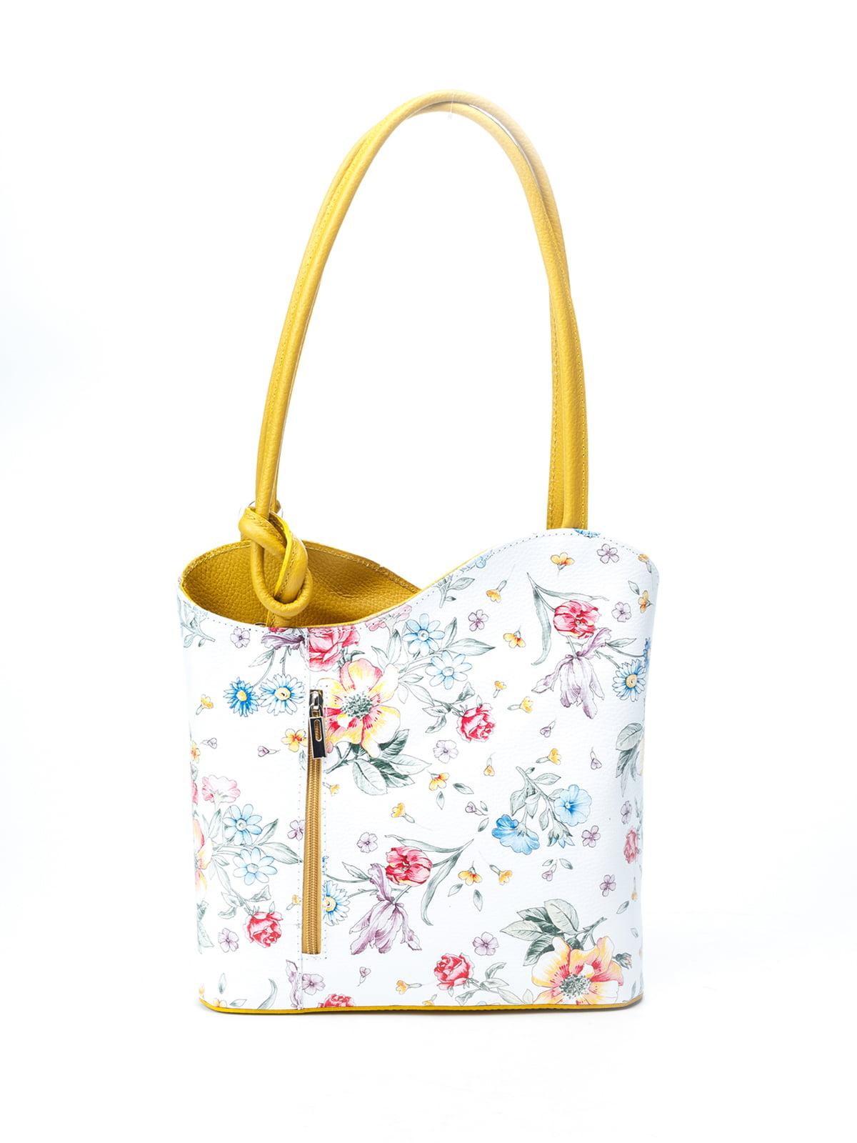 Рюкзак-сумка бело-горчичного цвета с цветочным принтом | 5096779