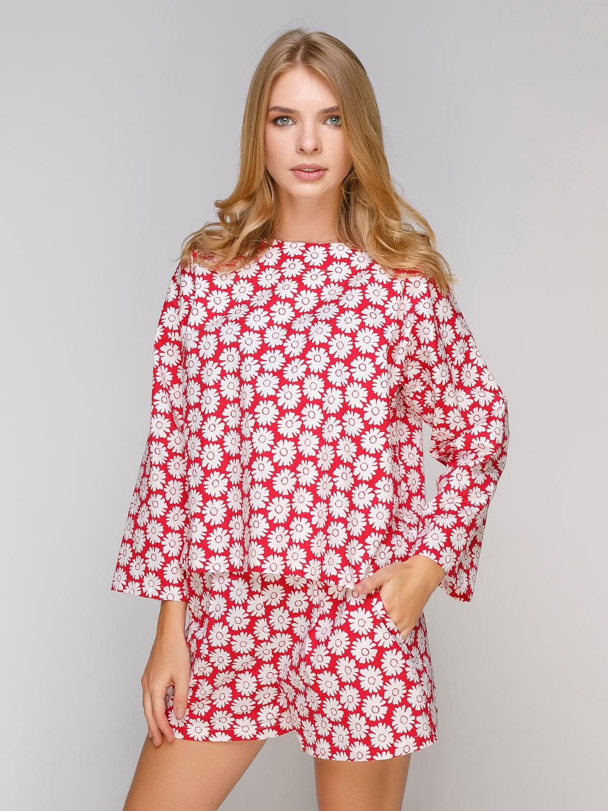 Блуза красная в цветочный принт | 5102088