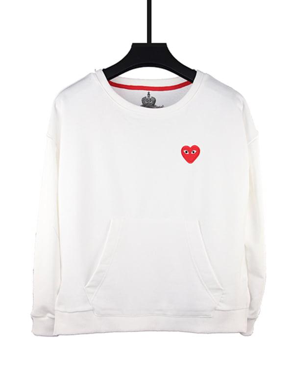 Свитшот белый с карманом и рисунком   5090956