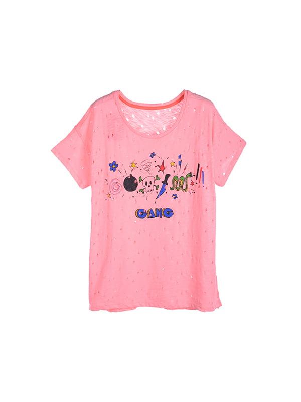 Футболка рожева з принтом | 5091096