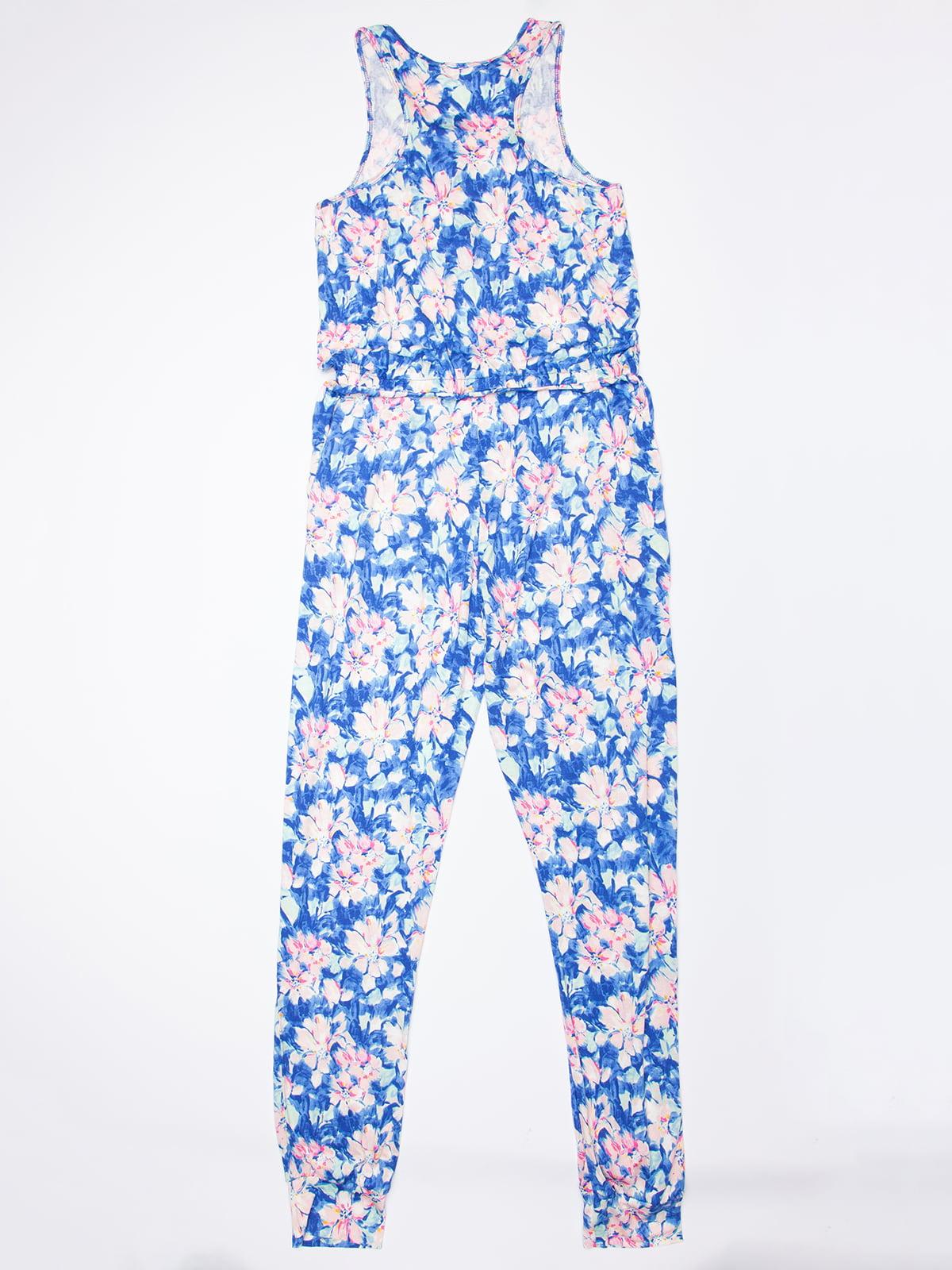 Комбинезон голубой в цветочный принт | 5103948