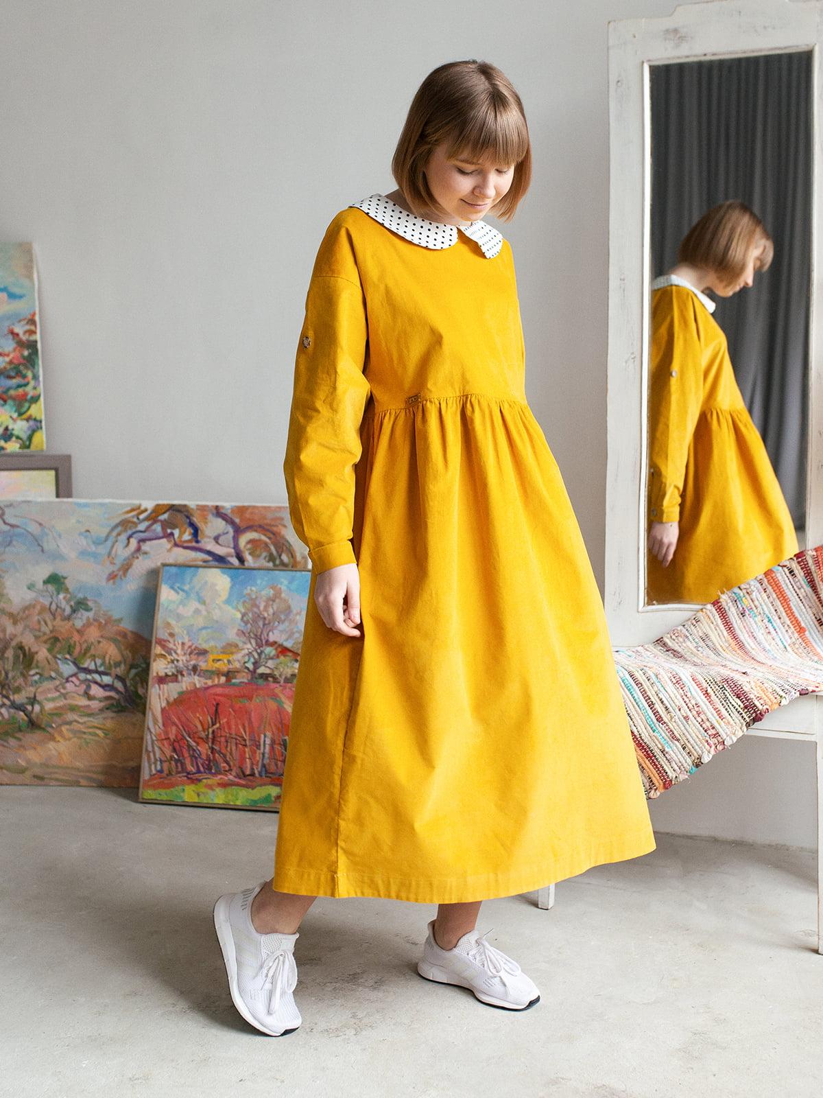 Платье цвета охры | 5056686 | фото 5