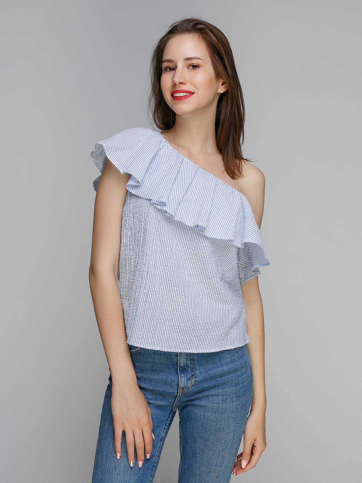 Блуза блакитна в смужку | 4576384
