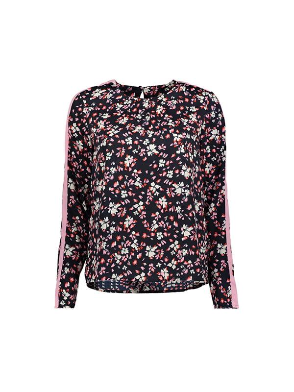 Блуза чорна у квітковий принт | 4970161