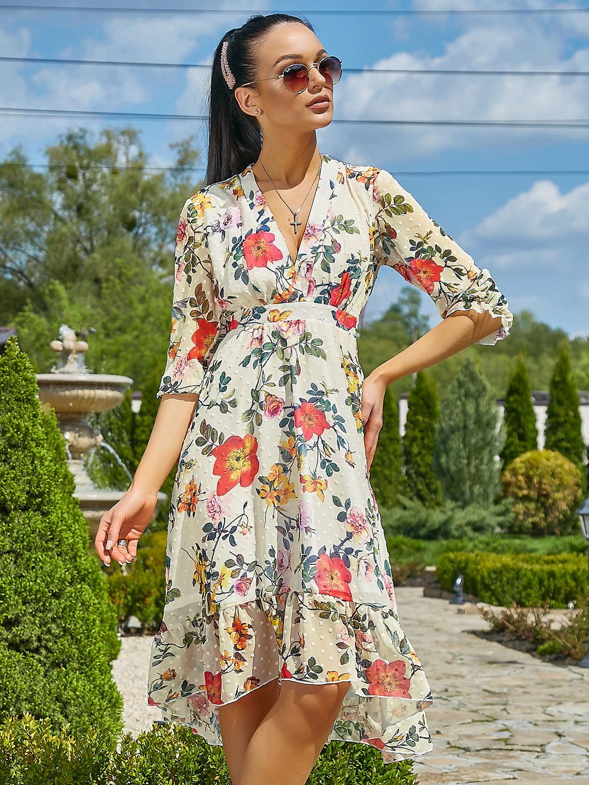 Платье желтое в цветочный принт | 5106854