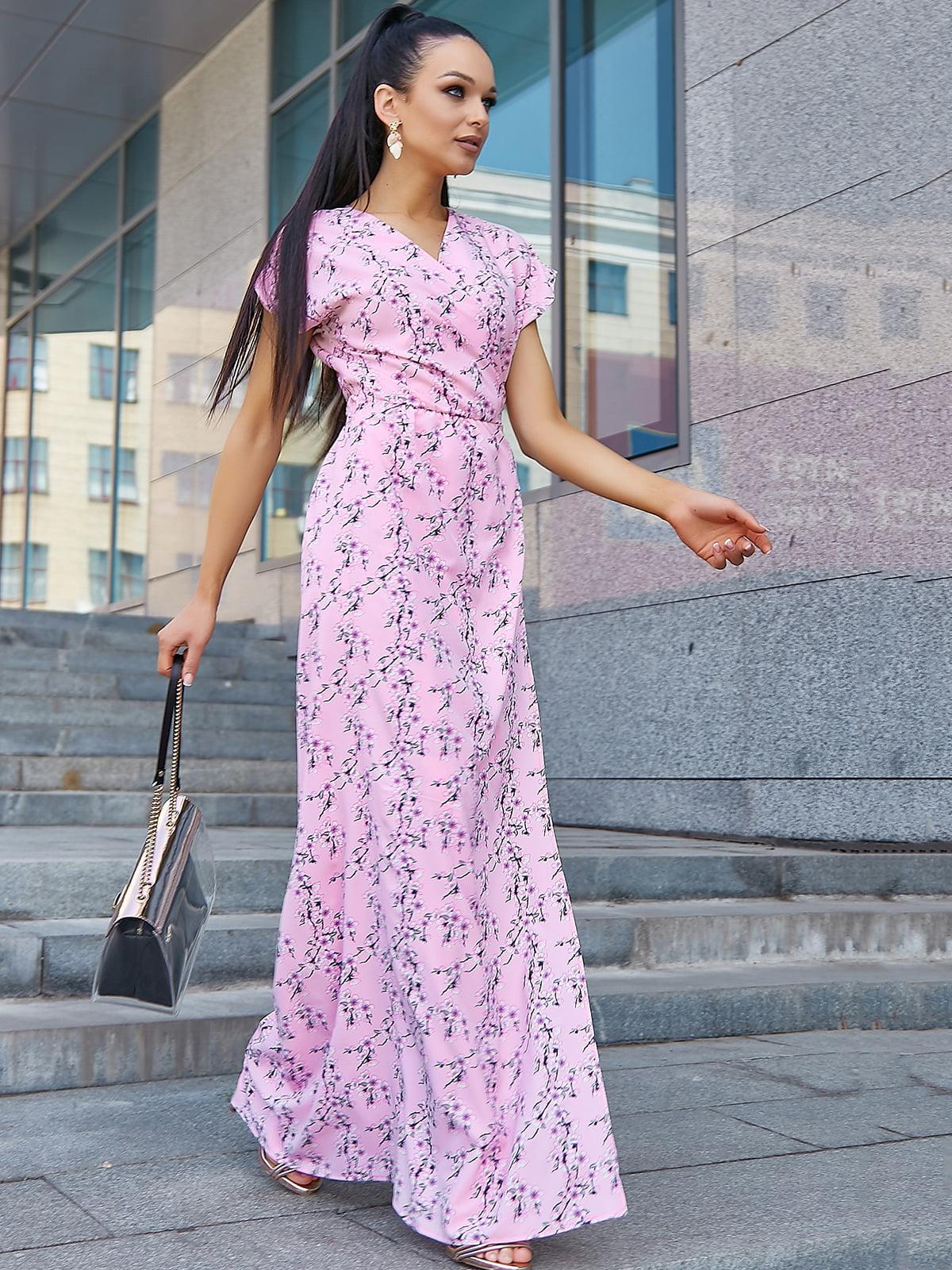 Платье розовое в цветочный принт   5106867