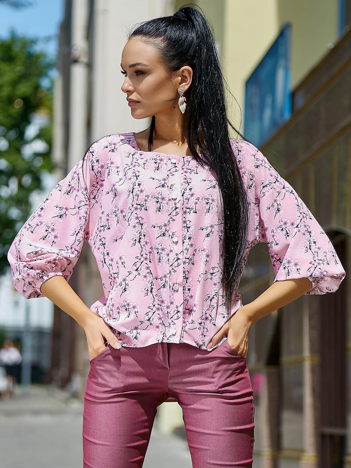 Блуза розовая в цветочный принт | 5106869