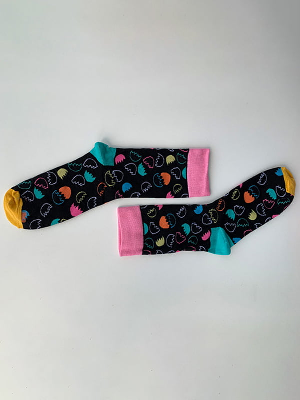 Шкарпетки чорні в принт | 5106875