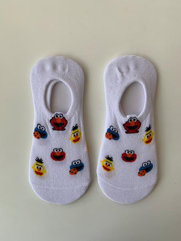Шкарпетки білі в принт | 5106902