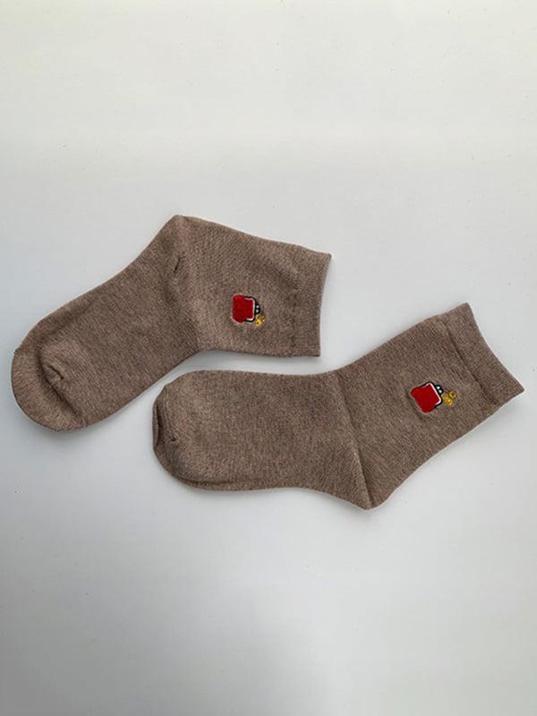 Шкарпетки бежеві з рисунком | 5106927