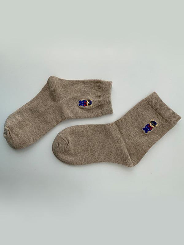 Шкарпетки бежеві з рисунком   5106933