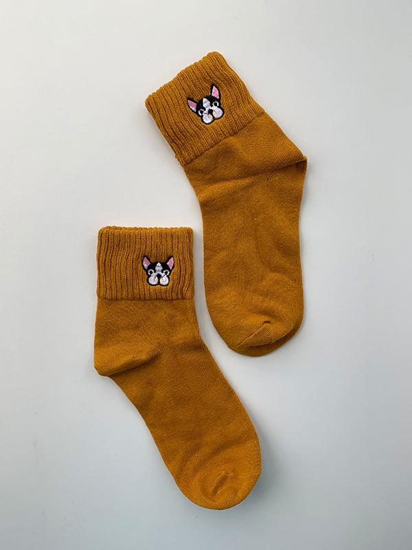Шкарпетки гірчичного кольору з рисунком | 5106959