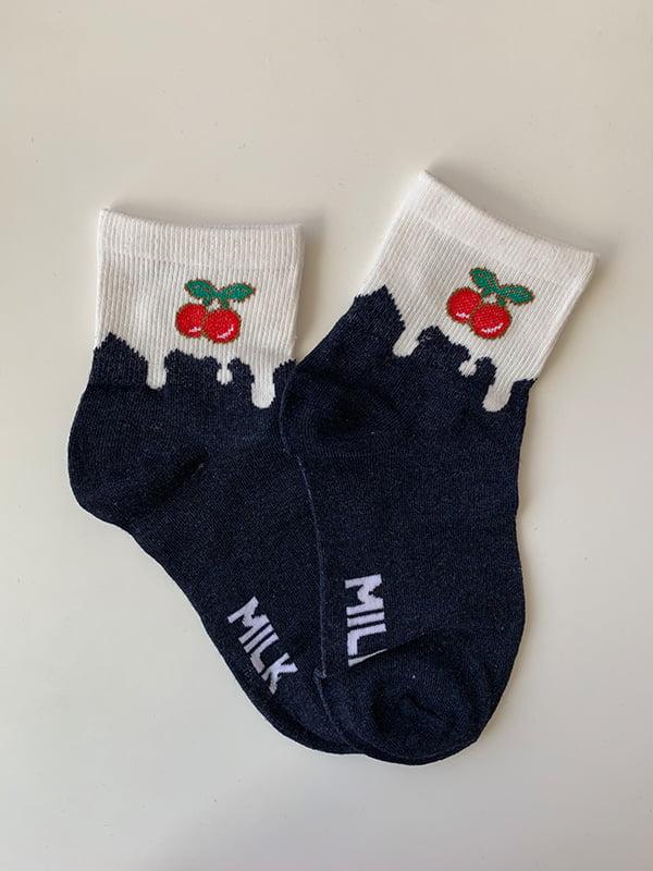 Шкарпетки біло-сині з рисунком | 5106966