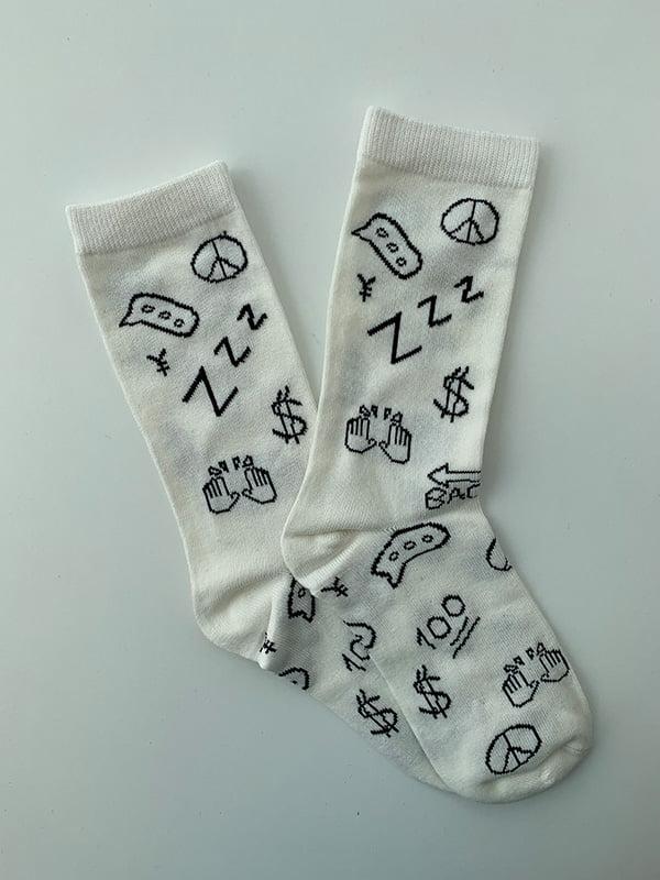Шкарпетки білі в принт | 5107020