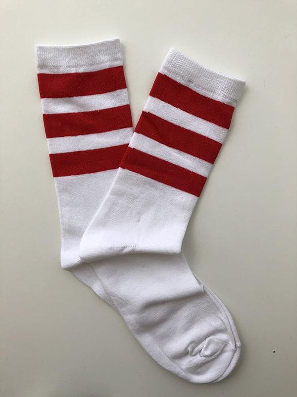 Шкарпетки біло-червоні з смужками | 5107034