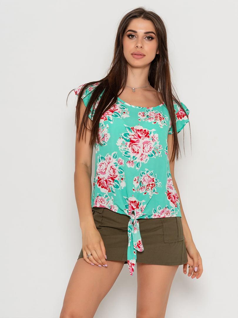 Блуза м'ятного кольору з квітковим принтом   5103113