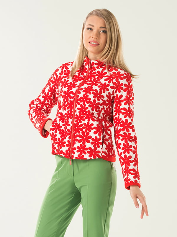 Куртка красная в цветочный принт   4973633
