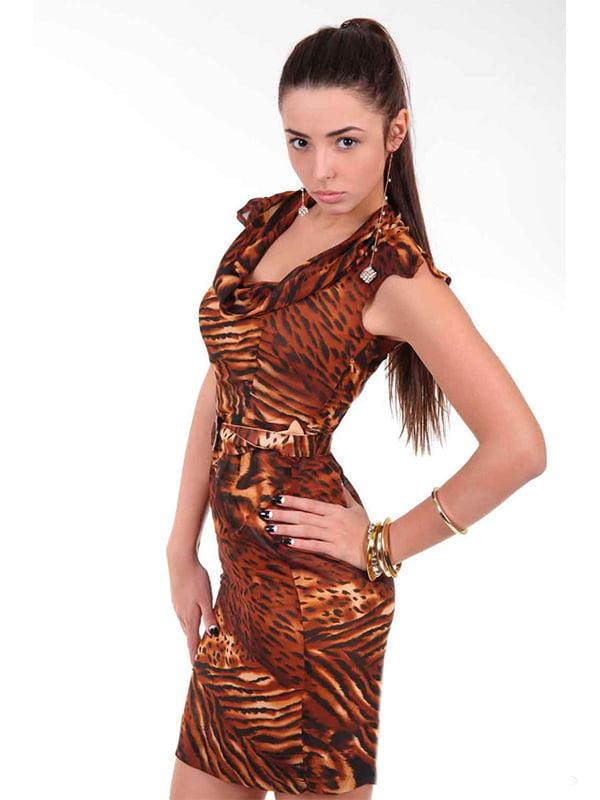 Платье коричневое в анималистичный принт | 4973668