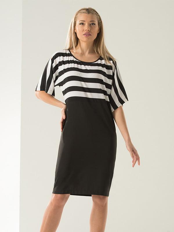 Платье черно-белое в полоску | 4973672
