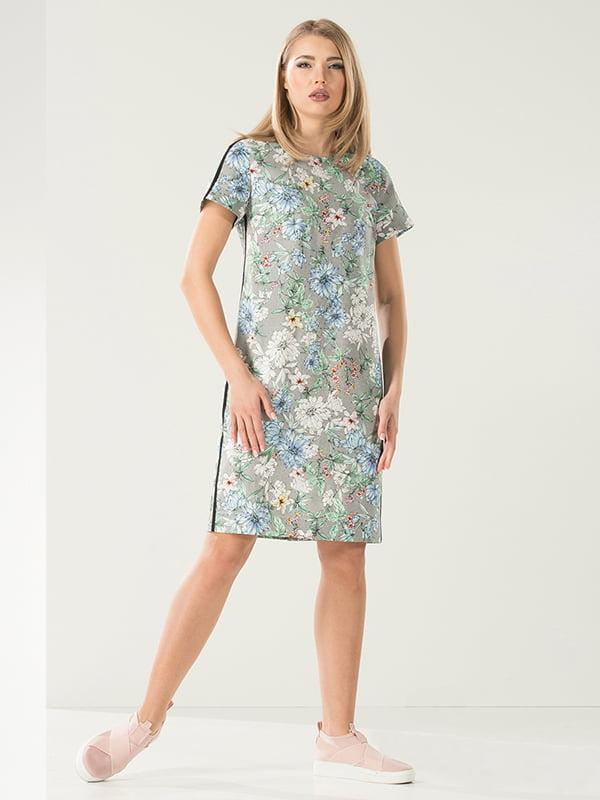 Сукня сіра в квітковий принт | 4973697