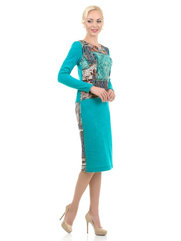 Платье бирюзовое в принт | 4973726