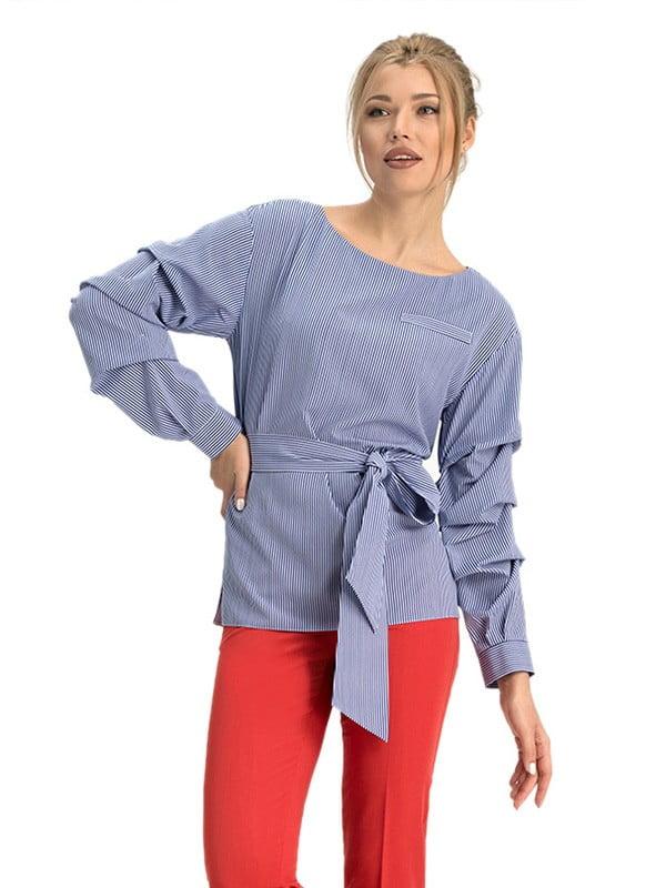 Блуза синяя в полоску | 5114047