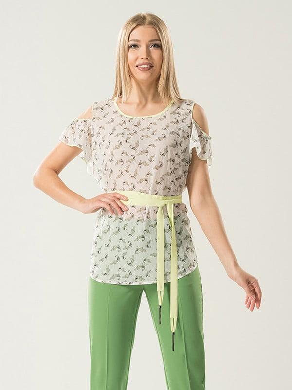 Блуза молочного кольору в принт | 5114051