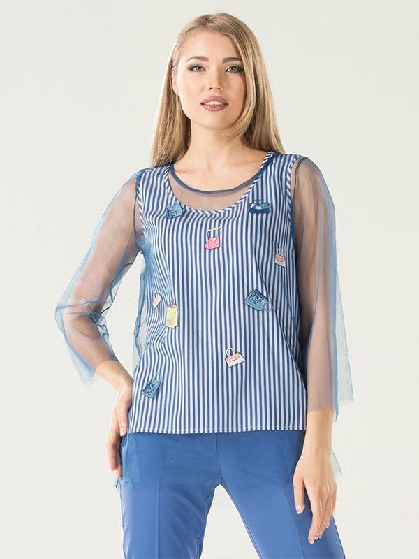 Блуза синяя в полоску | 5114060