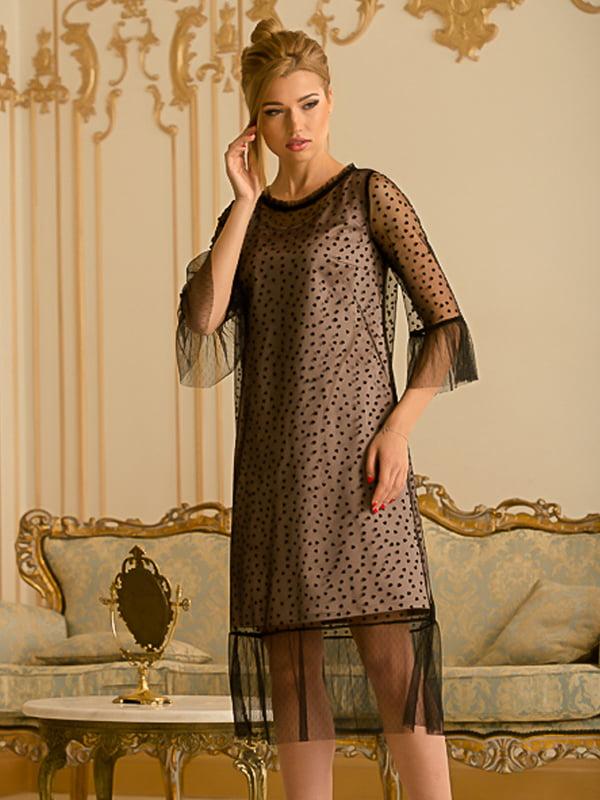 Платье двухцветное в горох | 5109818