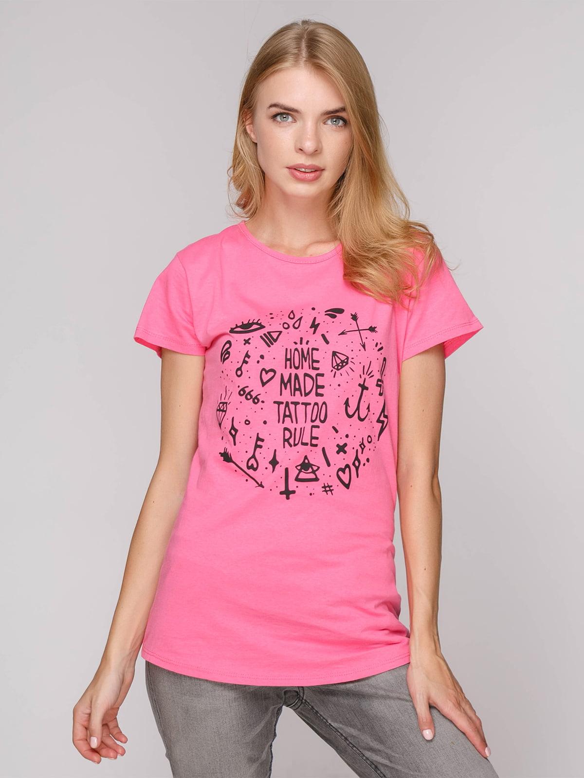 Футболка розовая с принтом | 5115392