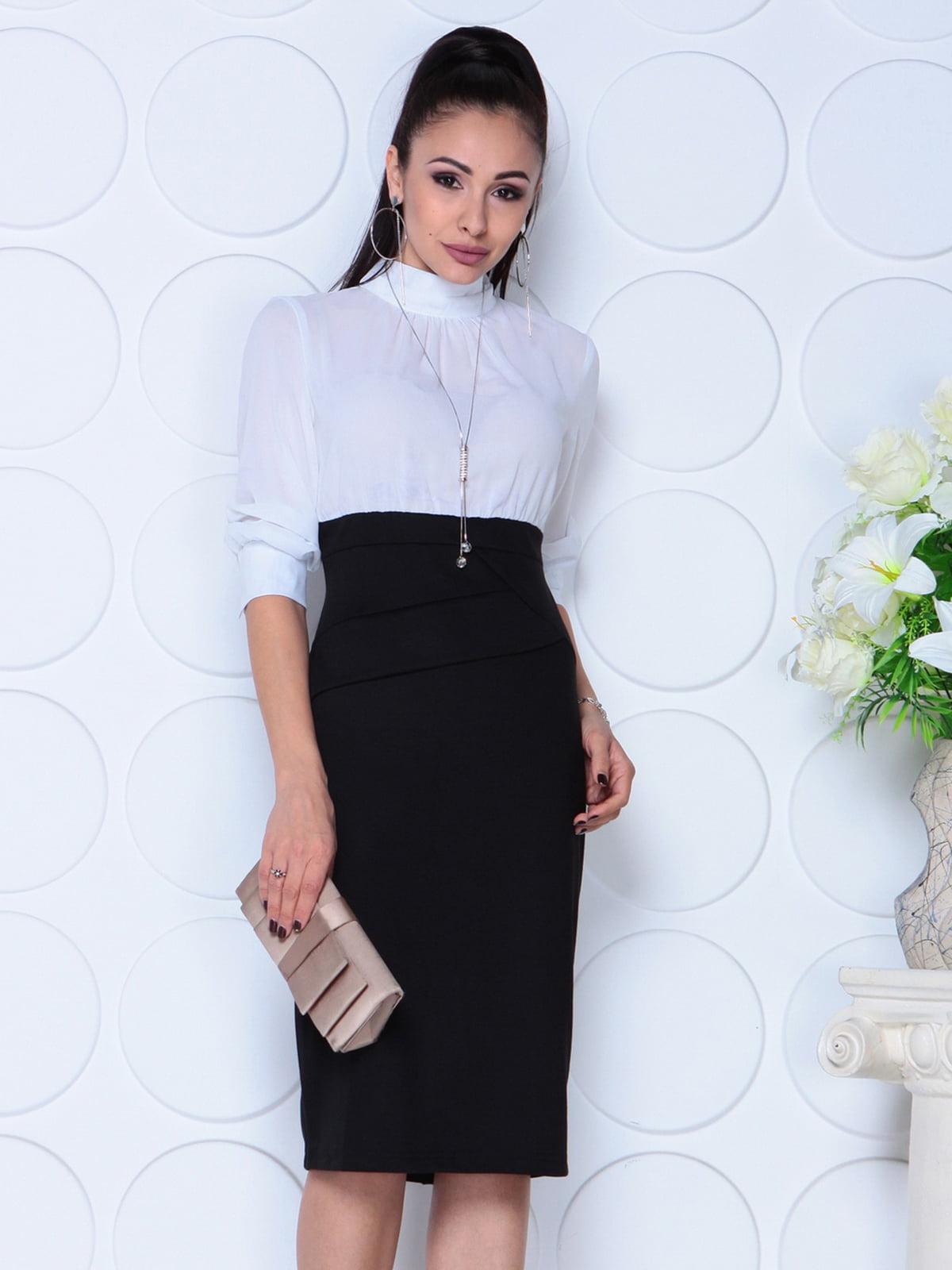 Сукня біло-чорного кольору | 4739277