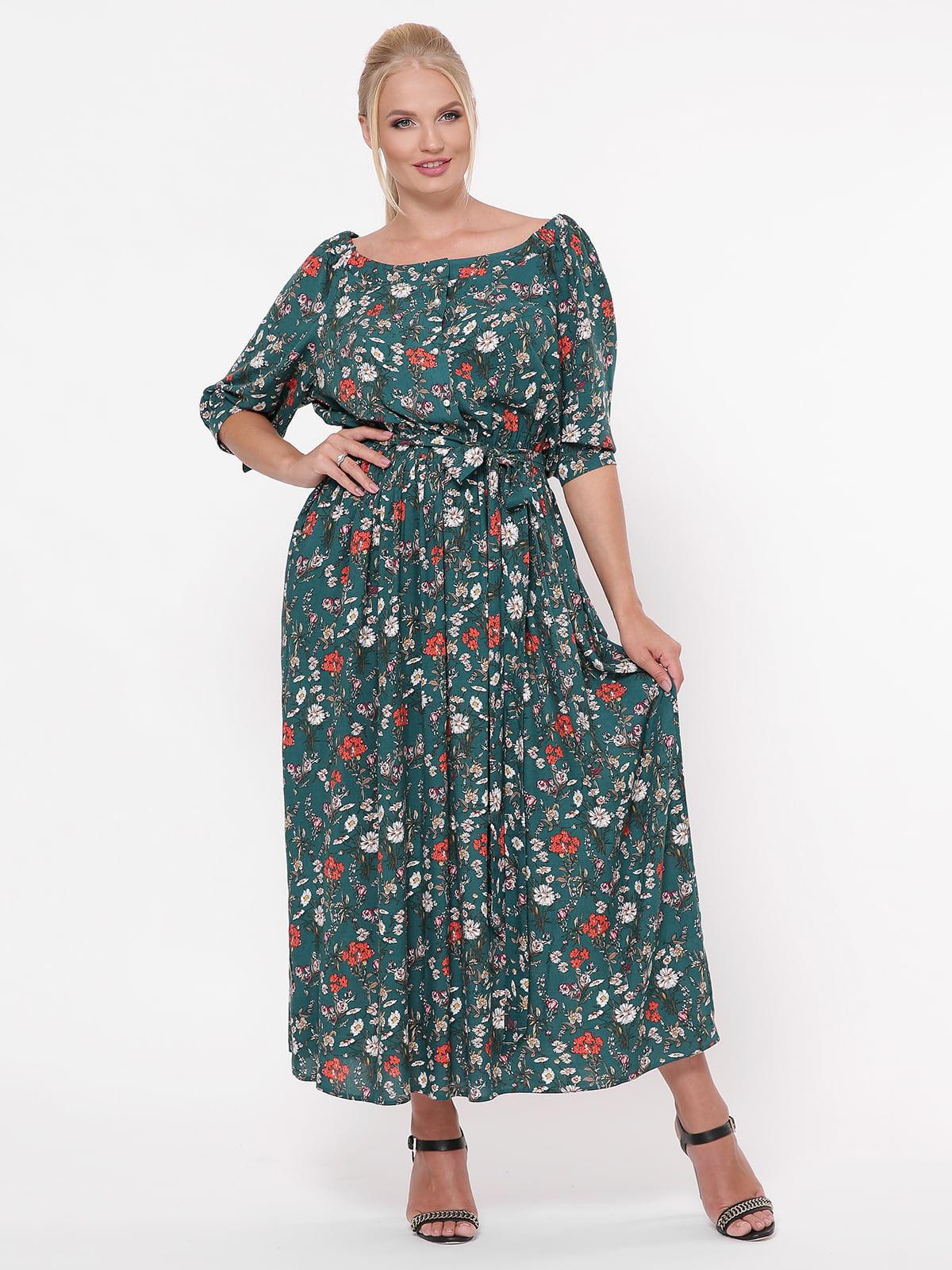 Платье зеленое в цветочный принт | 5117536