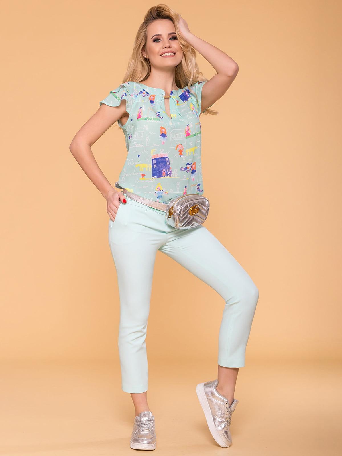 Блуза м'ятного кольору в принт | 4912538