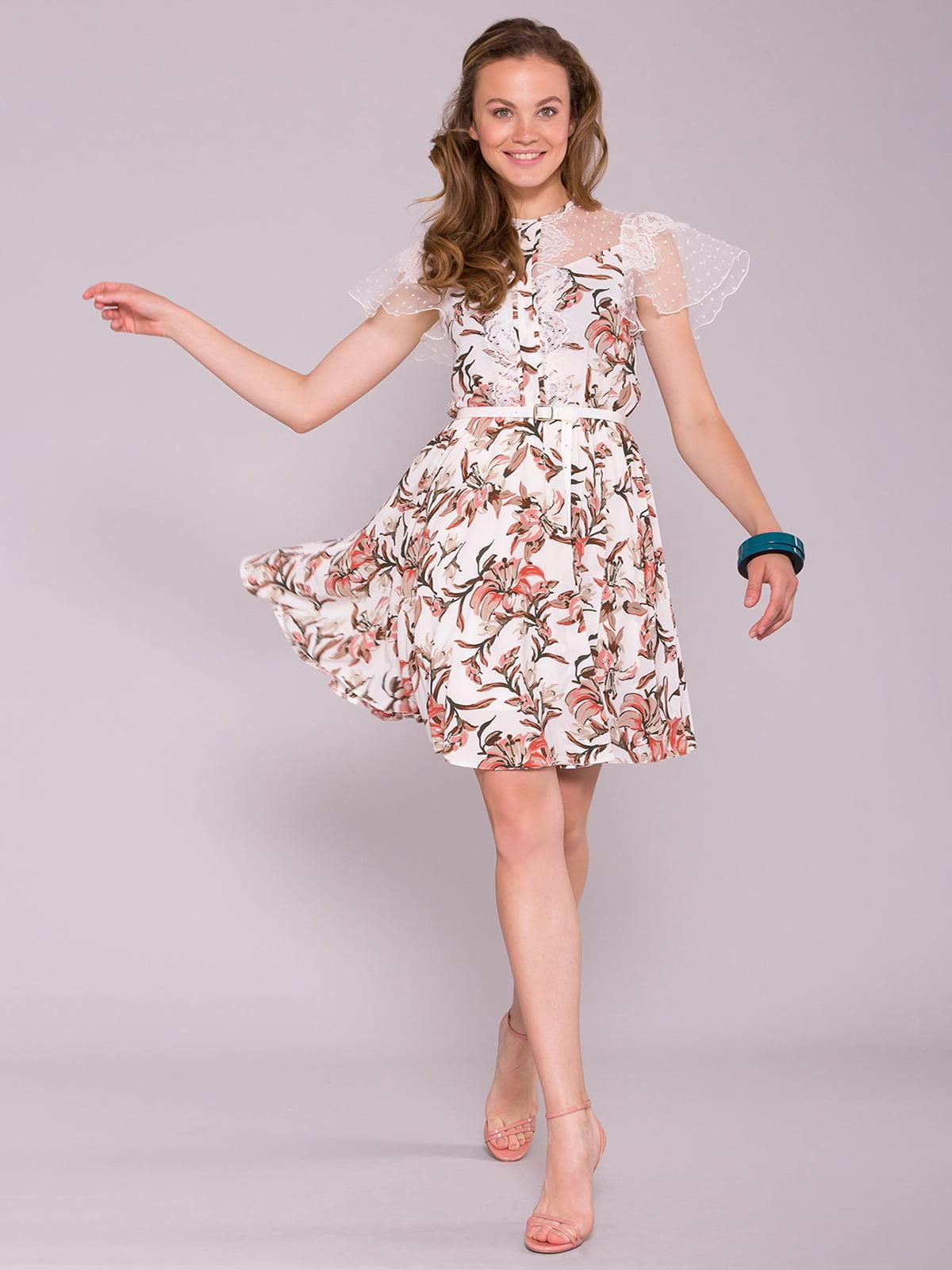 Сукня молочного кольору в квітковий принт | 5094755