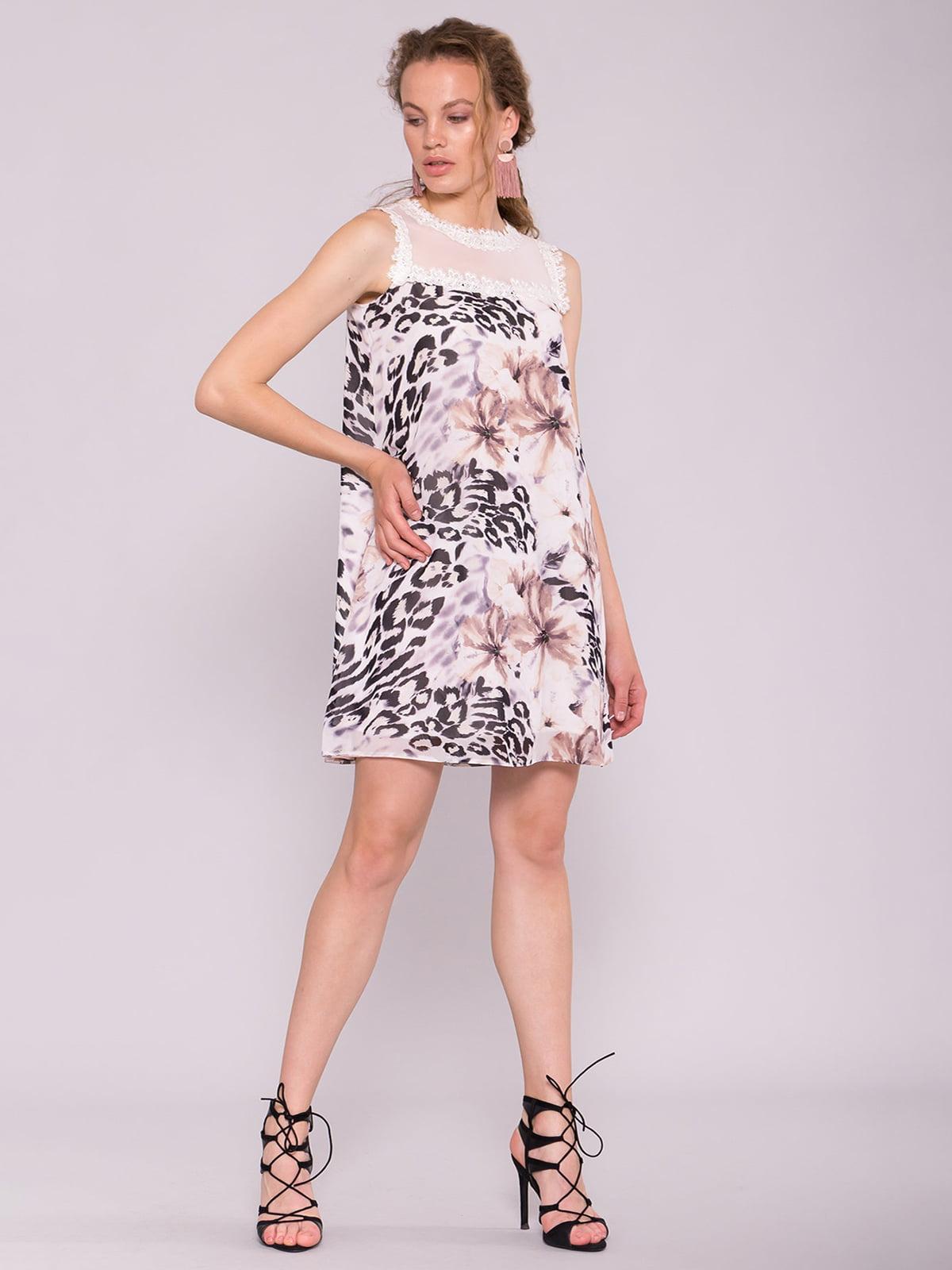 Сукня молочного кольору в принт | 5094801