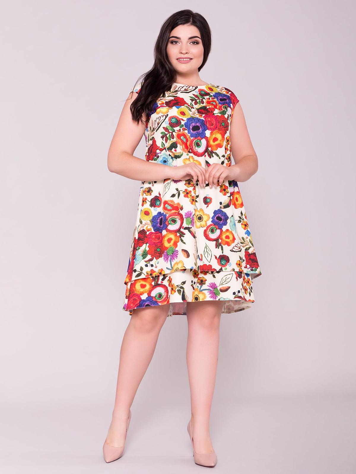 Сукня молочного кольору в квітковий принт | 5100715