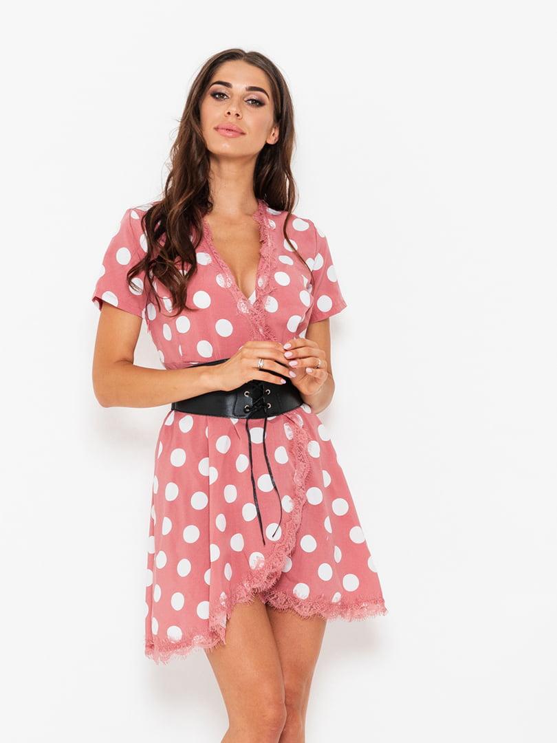 Платье персиковое в горох | 5117985