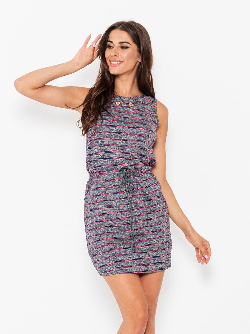 Платье серое в полоску | 5118000