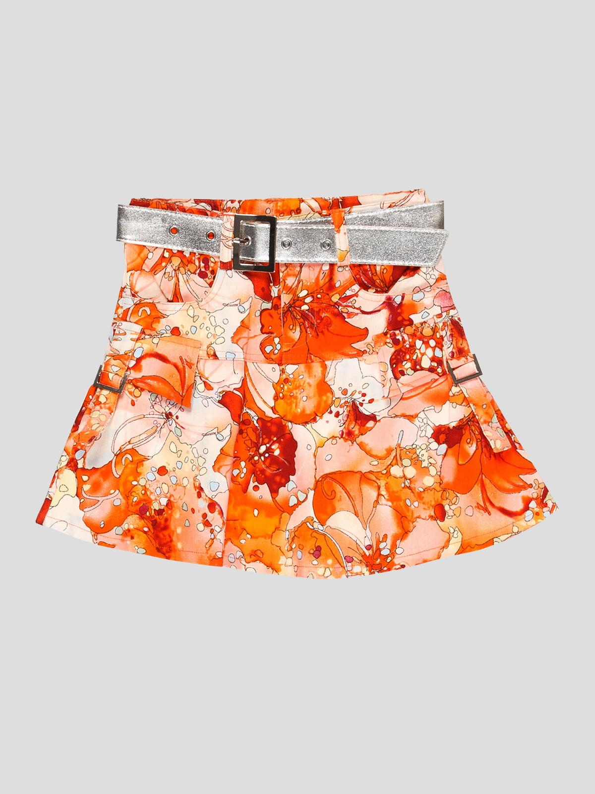 Спідниця помаранчева в квітковий принт | 5102438